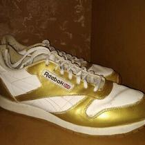 Customized Reebox Gold / White Size 10.5 Leather Men's Sneakers Photo