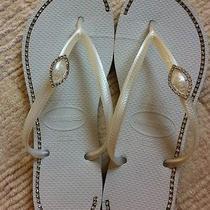 Customized Women's White Havaianas Flip Flops Size 9/10 Photo