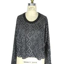Cut 25 by Yigal Azrouel Leather Trim Top S 245 New T Shirt Gray Tribal Print Photo
