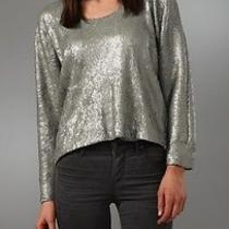 Cut 25 Yigal Azrouel Sequin Sweatshirt Top Sweater Silver Shirt Size 0 335 Photo