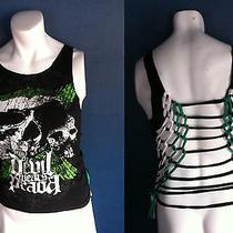 Cut Up the Devil Wears Prada Band Tour Concert Shirt S M Skull Logo Green Black Photo