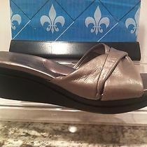 Cute Bandolino Yvea Gray Chrome Pewter Leather Slipons Shoes Photo