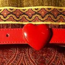 Cute Betsey Johnson Red Faux Patent Leather Belt With a Heart Buckle Size Xl Photo