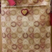 Cute Coach Waverly Hearts Signature Beige Crossbody Pink Leather Trim Photo