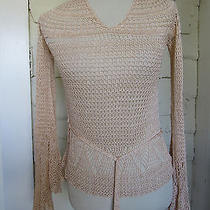 Cute Crochet Tan Beige Overlay Belted Top by Express Size M Photo