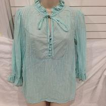 Cute Ella Moss Blue Tunic Henley Tie Neck Blouse Top Small Anthropologie Photo
