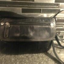 Cute Fossil Black Leather Organizer Shoulder Bag Purse Crossbody Bag Medium Photo