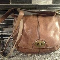 Cute Fossil Brown Leather  Shoulder Bag Purse Crossbody Bag Small Photo