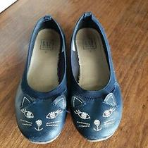 Cute Girls Navy Ballet Shoes With Cat Face Gap Size 2 (Runs Small--Size 1) Photo