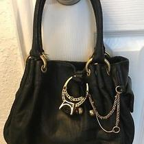 Cute Juicy Couture Black Leather Hobo Handbag Purse W/ Bling Gold Ring & Chain  Photo