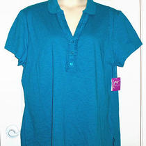 Cute Just My Size 5x Teal Blouse Aqua Top Ruffle Knit 30w 32w Jms Tshirt New Photo