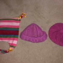 Cute Lot of 3 Gap Baby 18 24 M Girl Purple Pink Multicolor Crochet Winter Hat Photo
