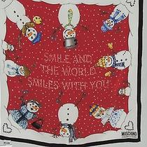 Cute Moschino Smile & World Smile With You Snowman Red Scarf W Hearts Nwt  Photo