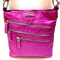 Cute Pink Lavender Mix Franco Sarto Double Snap Messenger/crossbody Bag (Hb-446) Photo