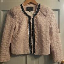 Cute River Island Size 8 Blush Pink Faux Fur Short Jacket French Style Photo