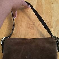 Cute Small Suede Dark Brown Coach Hand Bag With Leather Handle Brass Metal Trim Photo