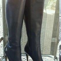 Cute via Spiga  Women's Black Leather Tall Boots Heels  Sz  9.5 M  Photo
