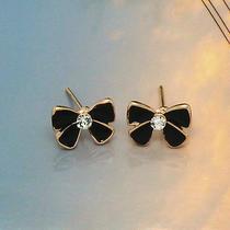 Cute White Gift Tie Ribbon Earrings New Rose Gold Fashion Jewelry Stud Earrings Photo