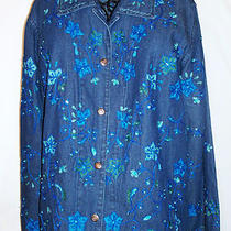 Cwc Catalog Womens Embroidered Aqua Sequined Blue Denim Jean Jacket Career M Photo