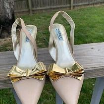 Cynthia Rowley Anthropologie 8 Blush Nude d'orsay Heels Slingback Gold Bow Photo