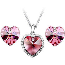Cz Luxxe Jewelry 18k Gold Plated Crystal Elements Heart Shape Jewelry Set (Rose) Photo
