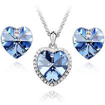 Cz Luxxe Jewelry 18k Gold Plated Elements Crystal Heart Shape Jewelry Set (Blue) Photo