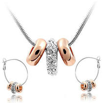 Cz Luxxe Jewelry 18k Gold Plated White Sapphire Crystal Elements Jewelry Set Photo