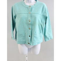 D Damask Aqua Long Sleeve Button Down Cardigan Sz M Photo