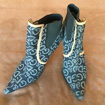 d&g Dolce & Gabbana Denim Logo Gold Stiletto Ankle Boot Womens Heels Size 36.5 Photo