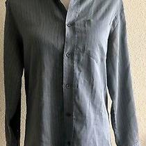 d&g Dolce & Gabbana Mens Button Up Long Sleeve Blue Striped Shirt Size 34/48 Photo