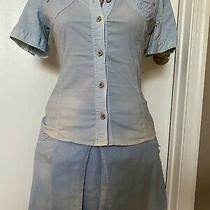d&g Dolce Gabbana Top Blouse Skirt Suite   Outfit Size 38 Small Denim Light Blue Photo