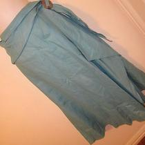 D Studio Sexy Stylish Turquoise a-Line Skirt Lined Scarf Belt Buckle Linen Sz 12 Photo