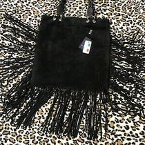 D2 Black Suede Fringed Hobo Double Handle Shoulder Hand Bag Purse Nwt Made Italy Photo