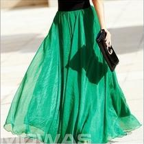 D2825 New Womens Ladys Girls Chiffon Colored Retro Long Maxi Skirt Vintage Dress Photo
