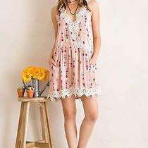 D4822 Entro Blush Summer Bohemian Country Ethnic Sundress Sleeveless Dress Sz L Photo