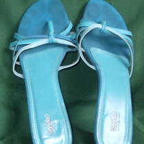 Daily Deal Ladys Mossimo Aqua Leather U Size 10 Backfree Dress Sandal 2