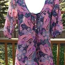 Daisy & Clover Pink Gray Paisley Floral Sweet Pea Boho Hippie Medium Nwot Photo