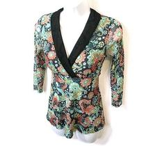 Daisy Clover Sweet Pea Floral Empire Babydoll Stretch Mesh Top Petite Small Ps Photo