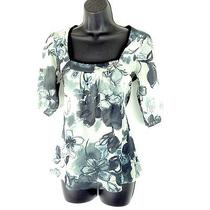 Daisy & Clover Sweet Pea Floral Mesh Babydoll Top Shirt Women's Size Small S Photo