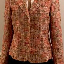 Dana Buchman Blazer Jacket Tweed Pink  Multi-Color Tori Burch-Ish  Sz 8 Photo