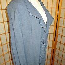 Dana Buchman Db Life Womens Blue Wool Blend Blazer Jacket Top M Lagenlook Shawl Photo