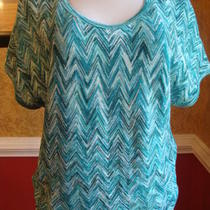 Dana Buchman Teal/aqua Chevron Print Sparkly Top-Nwt-S Photo