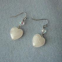Dangle Earrings Heart Rose Quartz With Clear Ab Swarovski Beads 768 Photo