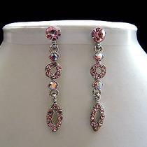 Dangle Earrings Lt Rose Swarovski Crystal Wedding Bridalmaid Gift E1087b Photo