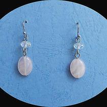 Dangle Earrings Rose Quartz With Clear Ab Swarovski Briolette Beads 758 Photo