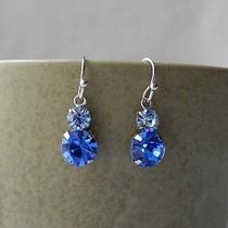 Dangle Earrings Sapphire Swarovski Crystal Earrings E1214b Photo