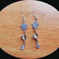 Dangle Earrings Sapphire Swarovski Crystal Earrings Flower Earrings E1287 Photo