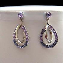 Dangle Earrings Violet & Tanzanite Swarovski Crystal E1077 Photo