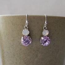 Dangle Earrings Violet & White Opal Swarovski Crystal Earrings E1214g Photo