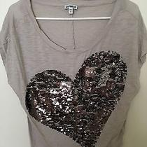 Dangly Metallics Heart Design Small Gray Tee by Express Photo